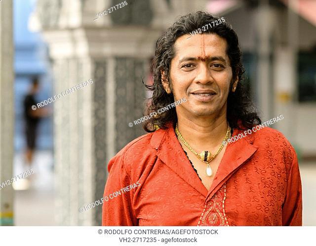 Man at Hindu Temple, Singapore