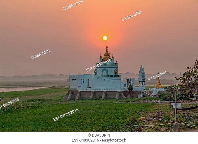 Buddhist temple near U bein bridge, Amarapura, Mandalay, Myanmar