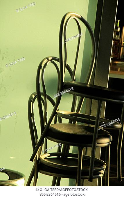 Chairs in a bar. Barcelona, Catalonia, Spain