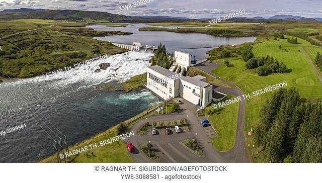Hydro Power Plant, Ljosafossvirkjun, Ulfljotsvatn lake, South Coast, Iceland