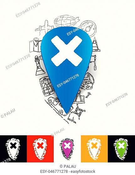 hand drawn simple elements with pointer paper sticker shadow