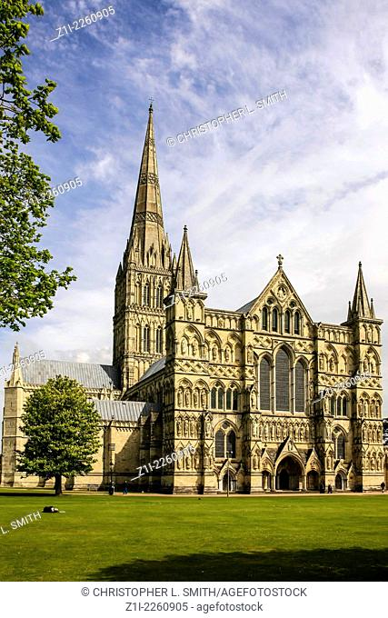 A view of Salisbury Cathedral in Wiltshire England