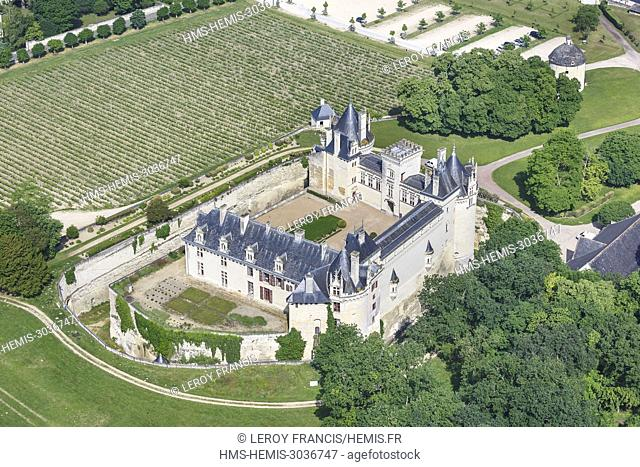 France, Maine et Loire, Breze, Breze castle (aerial view)