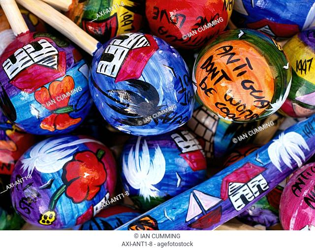 Colourful painted maracas, Close Up