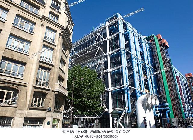 Pompidou Center or Centre Georges Pompidou also known as Beaubourg, Paris, France