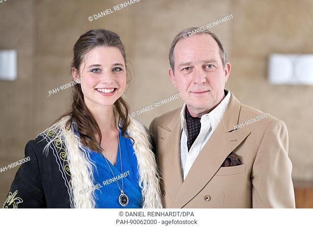 Actors Uwe Preuss (R-L, who plays Frederik Olsen) and Svenja Jung (Jenny Olsen) pose during a photocall at the set of the six-part television series 'Zarah' by...