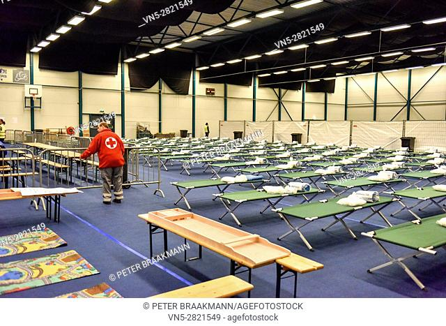 ROOSENDAAL - THE NETHERLANDS - OCTOBER 2: Sports hall for the reception of 200 refugees in the Netherlands on October 2, 2015
