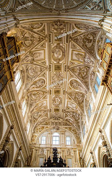 Vault of Christian cathedral. Mosque-Cathedral, Cordoba, Spain