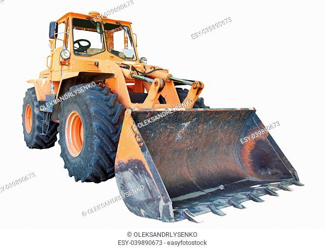bulldozer with bucket, isolated on white background