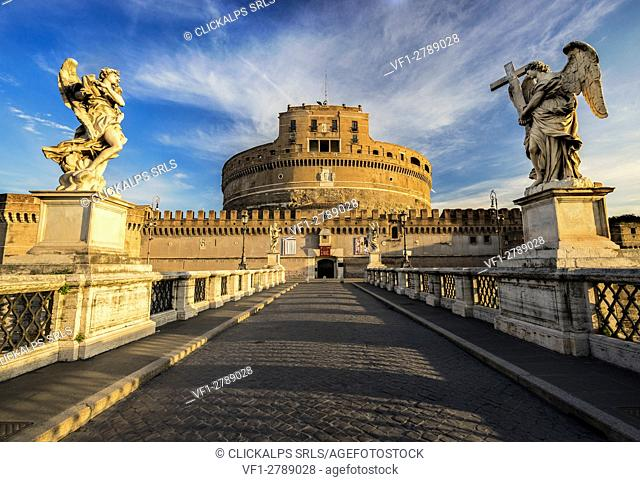 St. Angelo Bridge, Rome, Lazio. The Mausoleum of Hadrian or Castel Sant Angelo at dawn, Italy