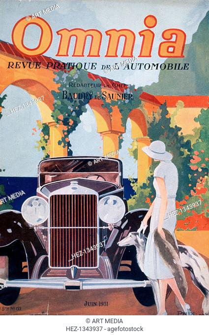 Front cover illustration from the car magazine 'Omnia', June 1931. ARTIST'S COPYRIGHT MUST ALSO BE CLEARED