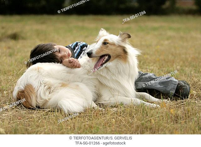 boy with collie