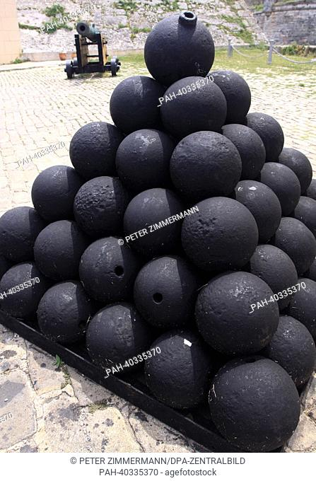 Cannonballs have been stacked to form a pyramid at fortress Castillo de los Tres Reyes del Morro in the Cuban capital Havana, Germany, 12 April 2013