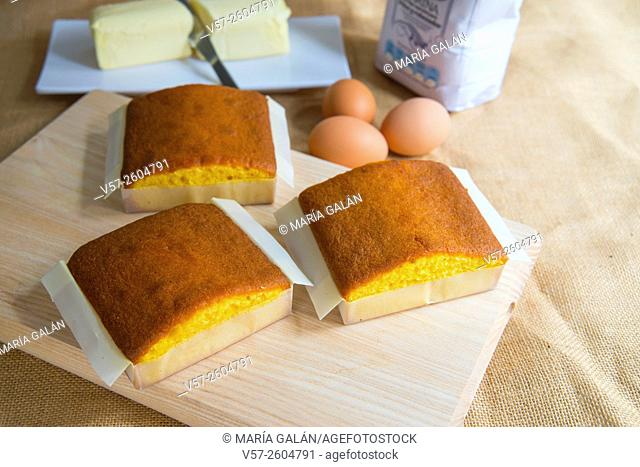 Still life: sobaos pasiegos with ingredients. Cantabria, Spain