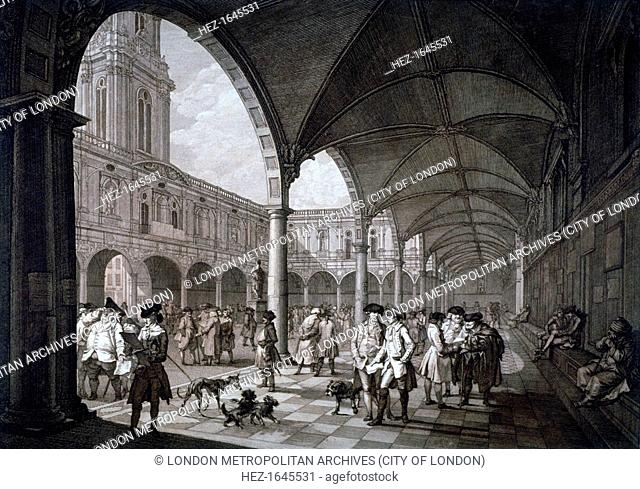 View of the courtyard in the Royal Exchange with merchants and brokers, City of London, 1788