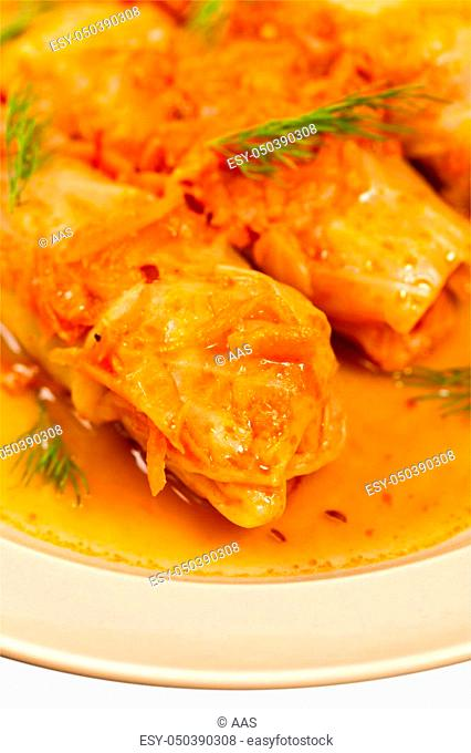 Stuffed Cabbage with tomato sauce. Selective focus