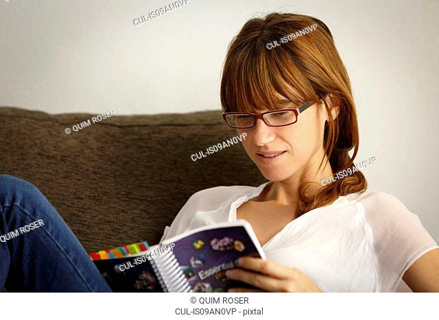 Mid adult woman reading filofax on sitting room sofa