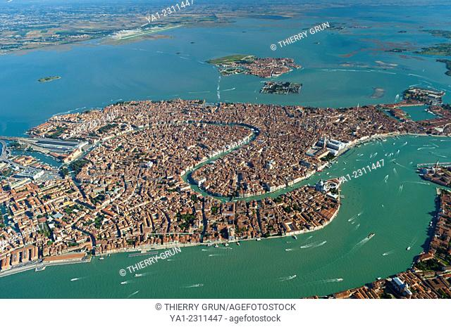Aerial view of Venice city, Italy, Europe