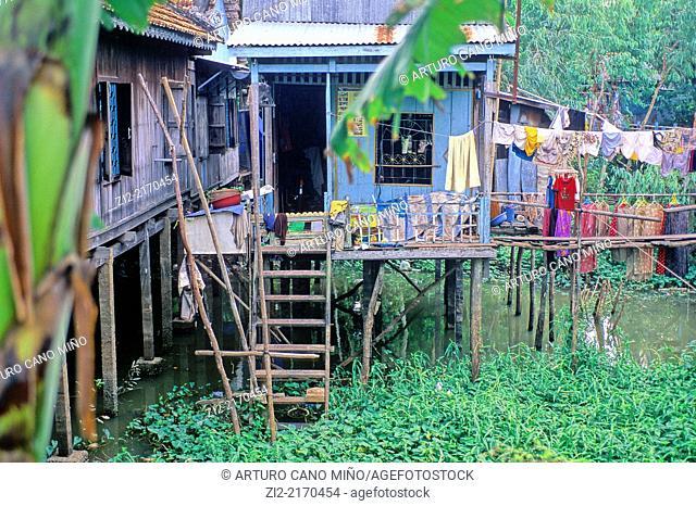 Stilt house on Mekong Delta. Vietnam