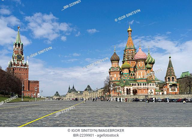 Saint Basil Cathedral and Kremlin, Moscow, Russia, Eurasia