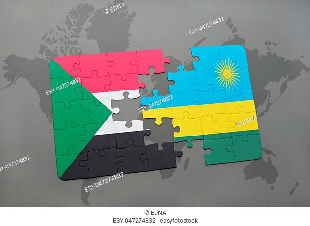 puzzle with the national flag of sudan and rwanda on a world map background. 3D illustration
