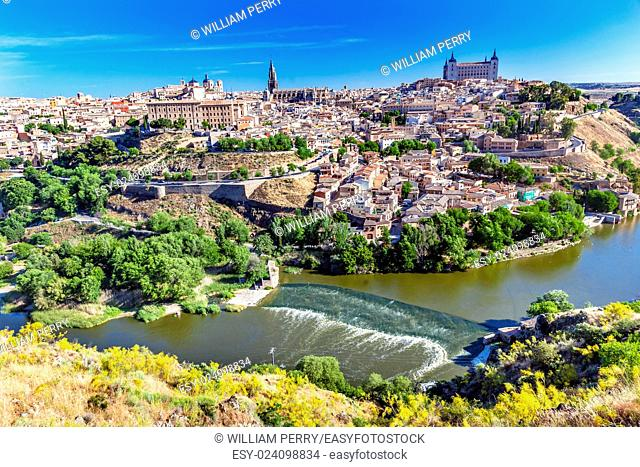 is Alcazar Fortress Churches Cathedral Medieval City Tagus River Toledo Spain. Toledo Alcazar built in the 1500s, Destroyed in Spanish Civil War and then...