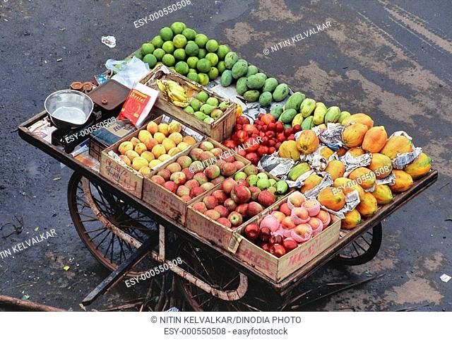 Aerial view of handcart of various fruits , juhu , Bombay Mumbai , Maharashtra , India