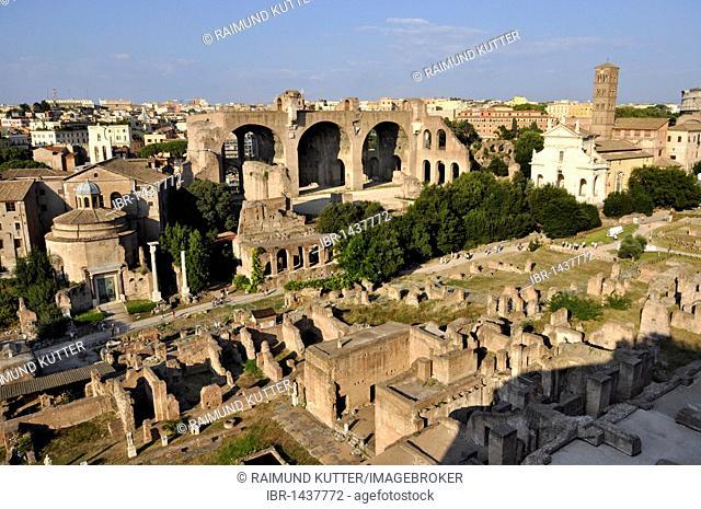 Temple of Romulus or Santi Cosma e Damiano, Basilica of Maxentius and Constantine, Church of Santa Francesca Romana, Forum Romanum, Roman Forum, Rome, Lazio