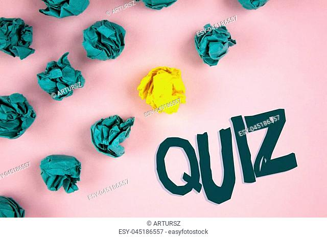 Word writing text Quiz. Business concept for Short Tests Evaluation Examination to quantify your knowledge written plain Pink background Crumpled Paper Balls...