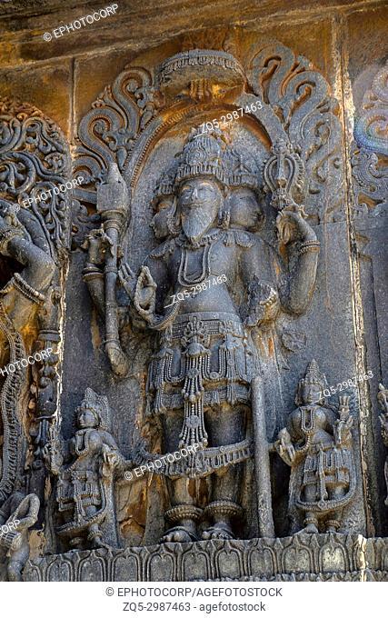 God Brahma statue at the Hoysaleswara Temple, Hoysala style, Halebidu, Karnataka, South India,