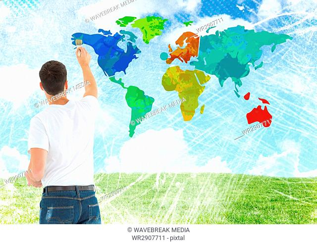 Man painting Colorful Map with bright sky background