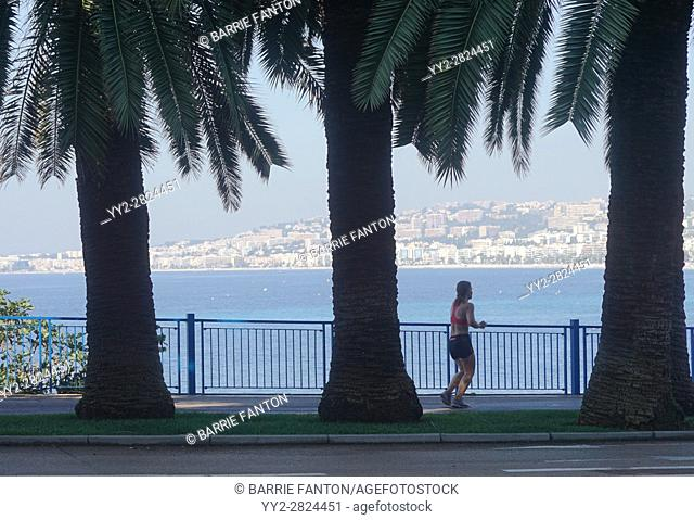 Woman Jogging, Promenade des Anglais, Nice, France
