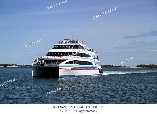 Hy-Line Cruises ferry, Hyannis Harbor, Cape Cod, Massachusetts, United States, North America