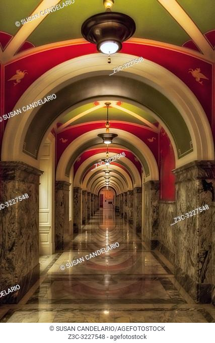 Library Of Congress Building Hallway - Thomas Jefferson Building Hall at the Library Of Congress in Washington DC. The Beaux Arts architecture style with fine...