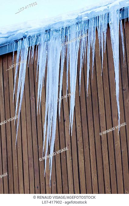 Icicles on a building. French Alps. Tignes. France