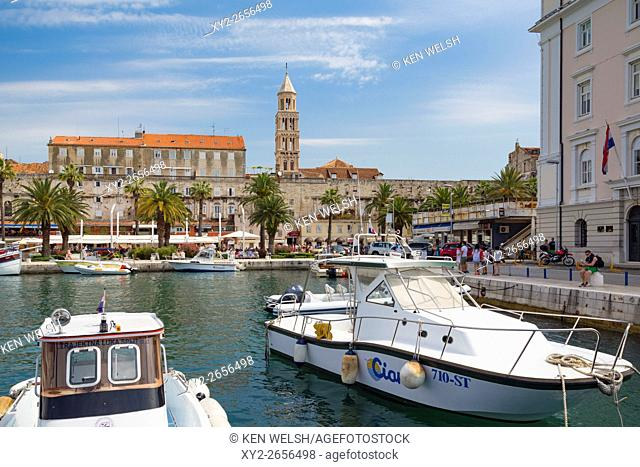Split, Dalmatian Coast, Croatia. The harbour. The tower in the background is the bell tower of Saint Domnius cathedral. The Historic Centre of Split is a UNESCO...