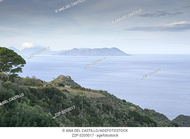 Aeolian islands and volcanoes from The Sanctuary of Tindari in Sicily. Italy