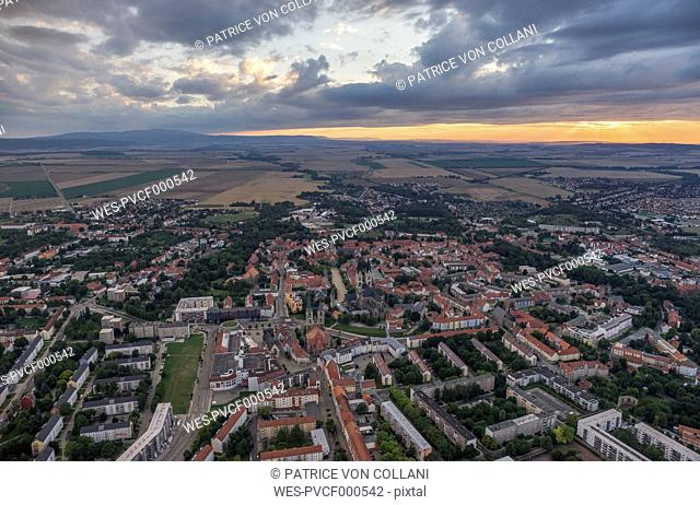 Germany, aerial view of Halberstadt in the evening