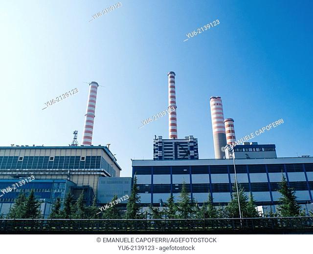 Factory chimneys, Abbiategrasso, Lombardy, Italy
