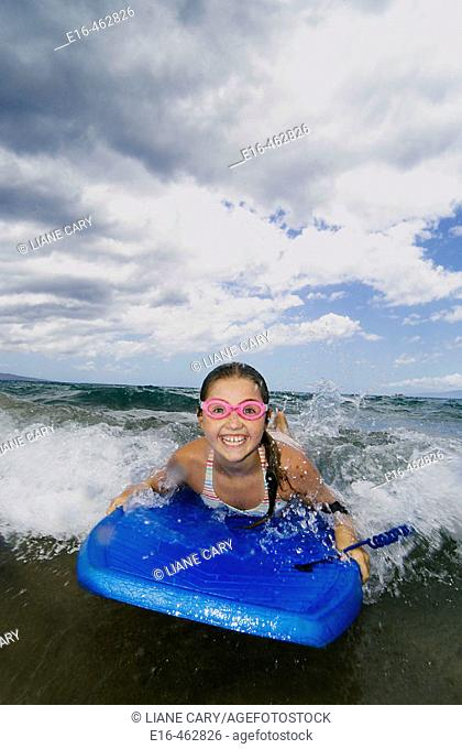 Happy girl boogie boarder