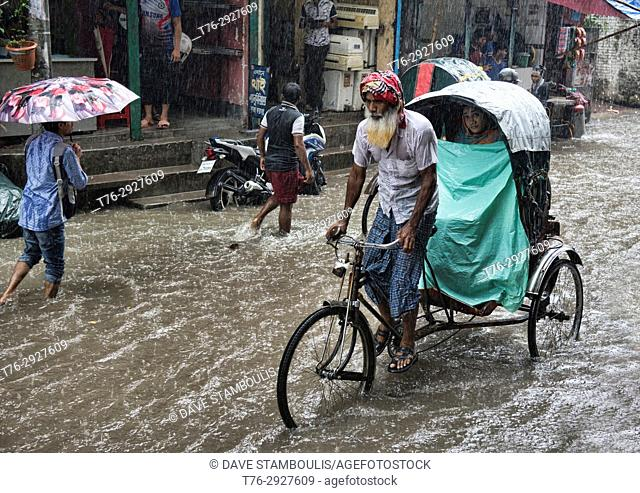 Rickshaw in the monsoon, Dhaka, Bangladesh