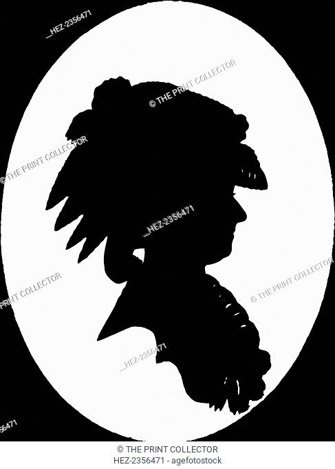 Marie Antoinette, Queen Consort of Louis XVI of France, 1912. Cut with scissors and pasted on plaster. A print from One Hundred Silhouette Portraits