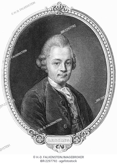 Historic steel engraving from the 19th century, portrait of Gotthold Ephraim Lessing, 1729 - 1781, a poet of the German Age of Enlightenment