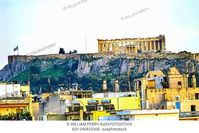 Parhenon Ruins Temple of Erechtheion Acropolis Towering Over Athens Greece. Temple to Athena on Acropolis. Created 438 BC