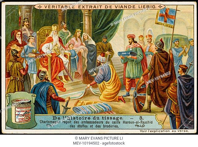 Charlemagne receives gifts of fabrics from Haroun-al- Raschid, Caliph of Baghdad