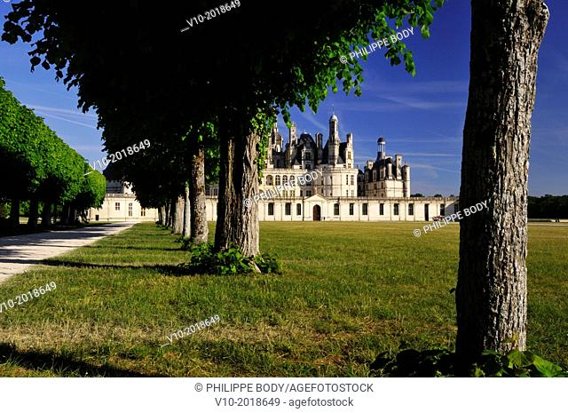France, Loir et Cher, Loire Valley, Chambord, Palace of Chambord on the world heritage list of UNESCO, built in XVI century in Renaissance style