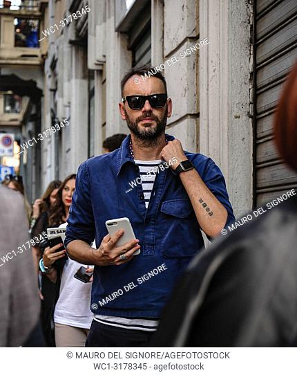 MILAN, Italy- September 19 2018: Federico Rocca on the street during the Milan Fashion Week