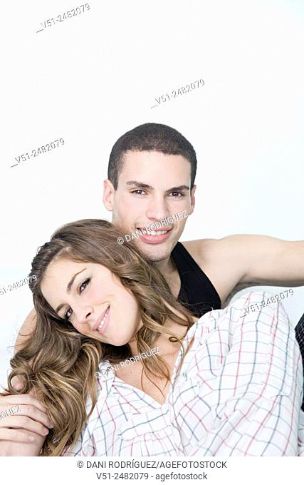 Portrait of a happy couple in bed
