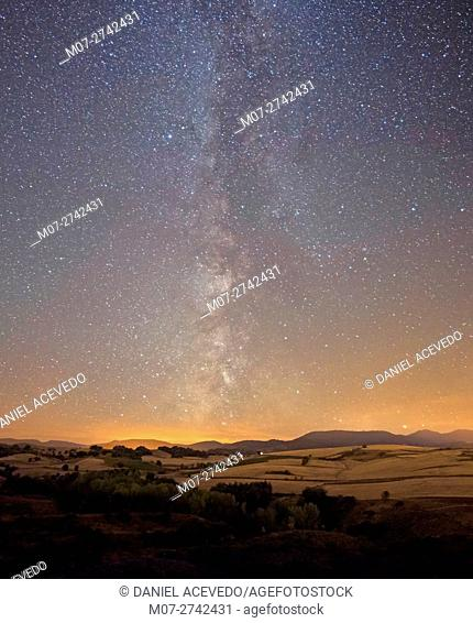 Milky Way around Rioja Alta Wine region, Spain, Europe