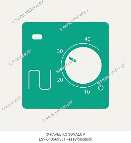 Warm floor wall unit icon. Gray background with green. Vector illustration